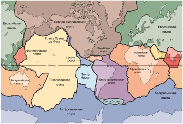 Подробная тектоническая карта